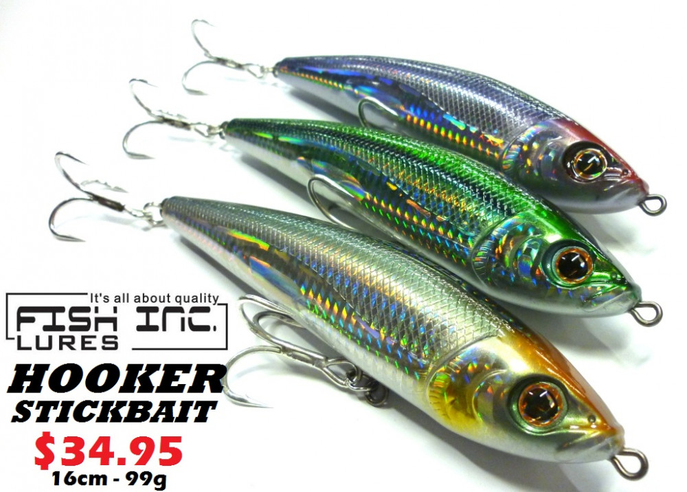 Fish inc lures hooker stickbait ray anne 39 s tackle for Fishing tackle online
