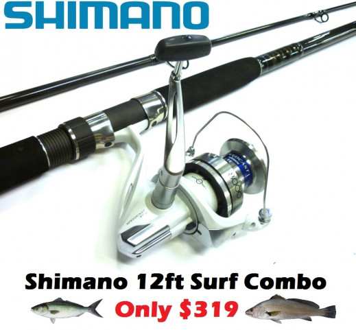 Shimano quality beach fishing combo only 319 ray for Shark fishing rod and reel combo