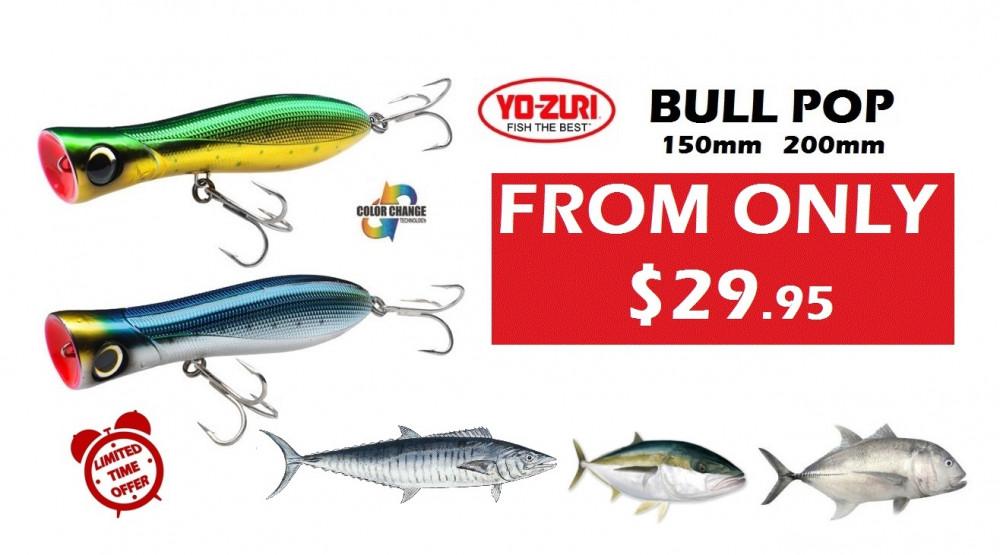 Yo zuri poppers bull pop f 150mm 200mm ray anne 39 s for Fishing yo yo