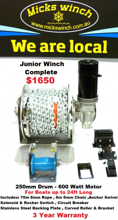 micks winch junior anchor winch for boats up to 24ft ray anne s rh rayannes com au 2500 Warn Winch Wiring Diagram 12 Volt Winch Wiring Diagram