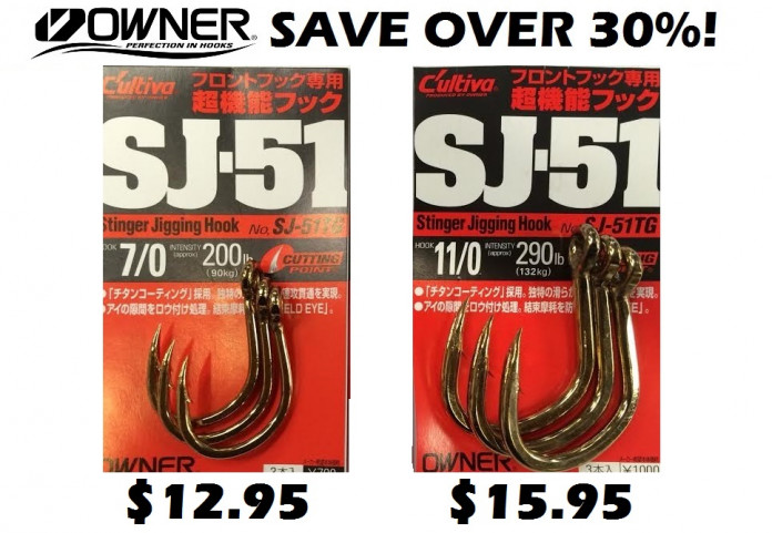Owner Hooks Discounted! - SJ51 - 7/0 Save Over 30% -Ray